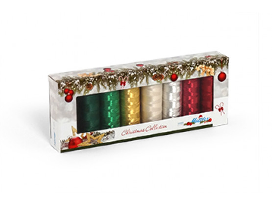 Sada 8 nití Amann Poly Sheen & Metallic - Christmas Kit